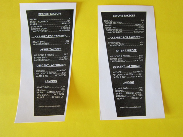 Aircraft Decal Placard *Take Off Checklist*