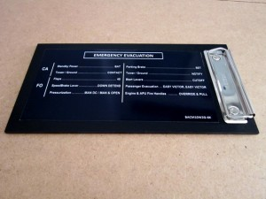Chart Holder with Emergency Evacuation Decals